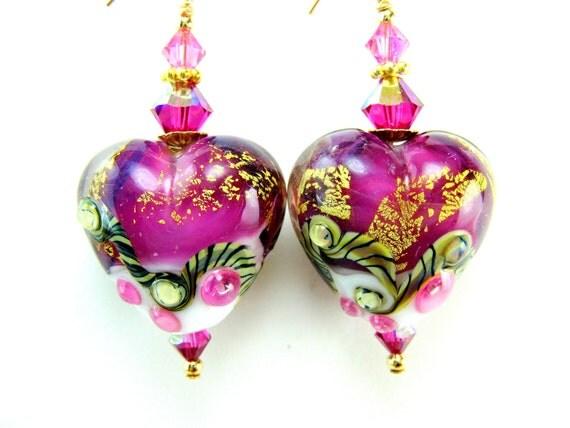 Hot Pink Heart Earrings, White Gold Pink Lampwork Glass Heart Earrings, 14k Gold Filled Crystal - Hopeless Romantic