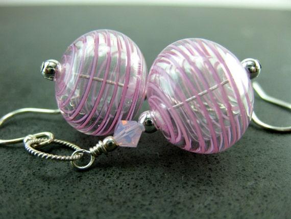 Pink Blown Glass Earrings, Light Weight Earrings, Lampwork Earrings, Hollow Glass Bead Earrings Beadwork Earrings Glass Earrings  Spun Sugar