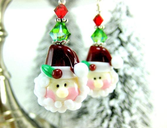 Santa Earrings, Santa Jewelry, Holiday Jewelry, Santa Claus Earrings, Christmas Earrings, Lampwork Earrings, Christmas Jewelry - Santa Claus