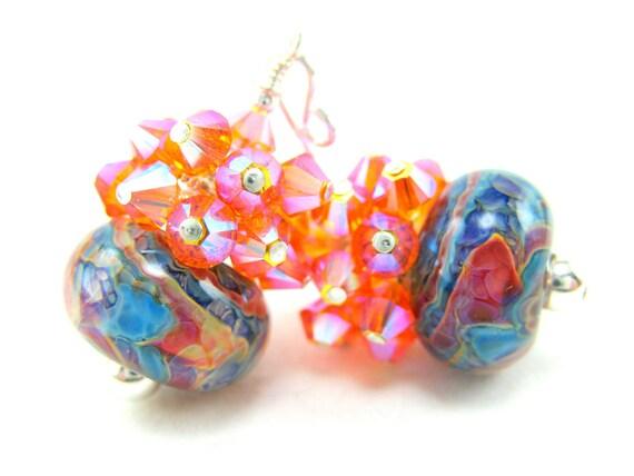 Orange Blue Boro Lampwork Earrings, Turquoise Blue Orange Pink Beadwork Earrings, Crystal Cluster Earrings, Colorful Earrings - Tie Dye