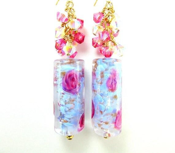 Pink Blue Murano Glass Earrings, Pastel Beadwork Earrings, Venetian Glass Bead Earrings, Dangle Earrings, Blue Earrings - Lullaby