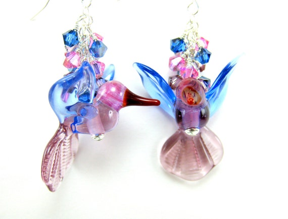 Hummingbird Earrings, Hummingbird Glass Earrings, Purple Pink Blue Hummingbird Lampwork Earrings, Bird Earrings - Jewels In Flight