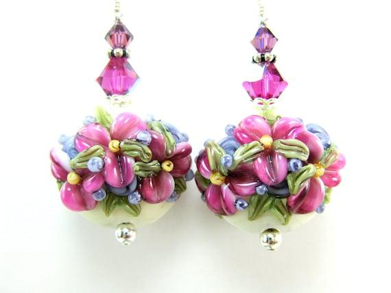 Bright Pink Flower Earrings, Fuchsia Purple Ivory Floral Lampwork Earrings, Hot Pink Glass Earrings, Dangle Earrings - Flowers In The Snow