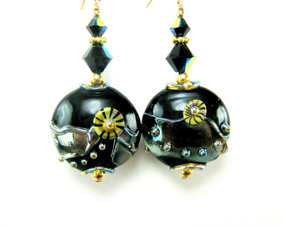 Black & Gold Earrings, Lampwork Earrings, Abstract Earrings, Glass Earrings, Beadwork Earrings, Gold Filled Earrings, Beaded Earrings - Tron
