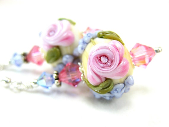 Pink Rose Glass Bead Earrings, Pink Cameo Rose Purple Ivory Floral Lampwork Earrings, Crystal Sterling Silver - Gracious