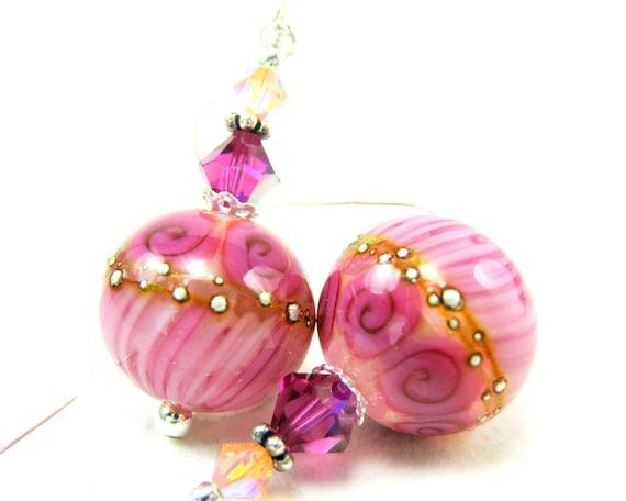 RESERVED  Pink Glass Earrings, Dangle Earrings, Lampwork Earrings, Art Glass Jewelry, Floral Earrings, Pastel Jewlery- Ring Around the Rosie