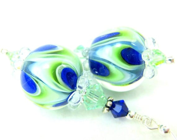 Cobalt Blue Green Lampwork Earrings, Drop Earrings, Green Whit0e Cobalt Glass Bead Earrings, Beadwork Earrings - Green Gables