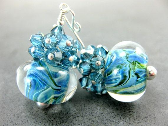 Blue Glass Bead Earrings, Blue Green Aqua Boro Lampwork Earrings, Aquamarine Crystal Earrings - Turbulent Waters