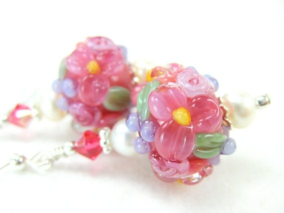 Floral Earrings, Coral Pink Earrings, Lampwork Earrings, Flower Earrings, Salmon Pink Glass Earrings, Pink Dangle Earrings - Coral Springs
