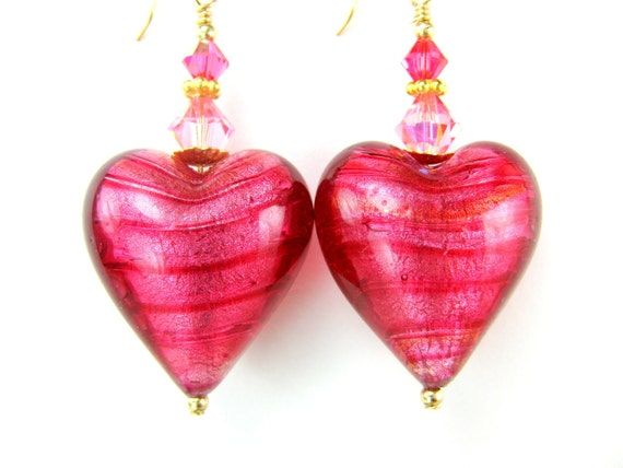 Hot Pink Heart Earrings, Pink Murano Glass Heart Earrings, Venetian Glass Earrings, Valentine Earrings - Love Never Ends