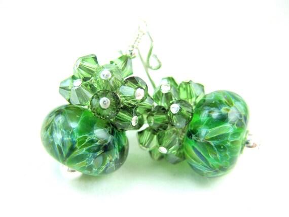 Green Earrings, Green Glass Earrings, Emerald Green Boro Lampwork Bead Earrings, Green Crystal Earrings - Irish Springs