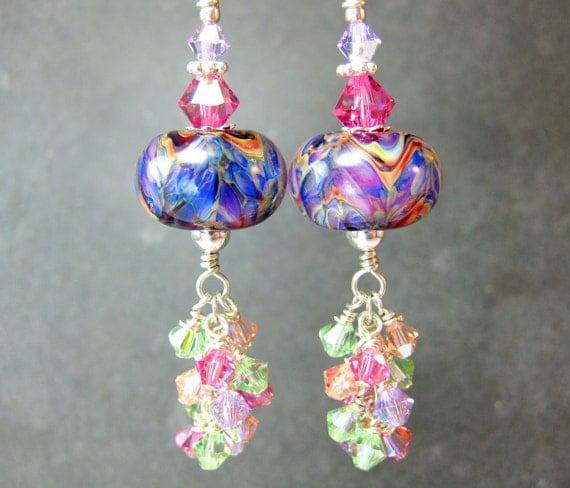 Purple Pink Glass Bead Earrings, Purple Pink Peach Boro Lampwork Earrings, Crystal Dangle Earrings - Sparkling Colors