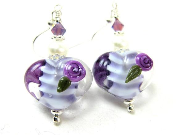 Purple Heart Earrings, Purple Lavender Heart Lampwork Glass Bead Earrings, Lavender Earrings, Purple Glass Earrings - My Purple Valentine