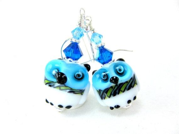 Owl Earrings, Bird Jewelry, Aqua Blue White Lampwork Earrings, Nature Inspired, Woodland Animal Earrings, Whimsical Dangle - Olie & Hoot