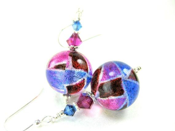 Colorful Murano Earrings, Pink Blue Red Venetian Glass Earrings, Colorful  Beadwork Earrings, Glass Dangle Earrings - Carnival Splash