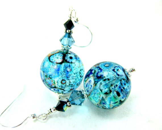 Aqua Blue Murano Glass Bead Earrings, Aqua Blue Black Venetian Glass Earrings, Blue Sparkle Earrings - Through the Looking Glass