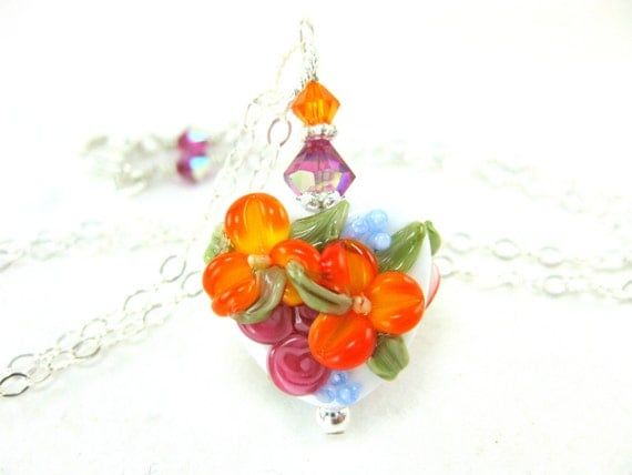Heart Necklace, Orange Pink Floral Lampwork Necklace, Pink Orange Glass Bead Necklace, Spring Beadwork Necklace - Mother's Day