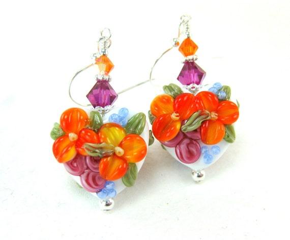 Orange Pink Heart Earrings, Flower Earrings, Orange Hot Pink Lampwork Earrings, Heart jewelry, Mother's Day Jewelry  -Mother's Day