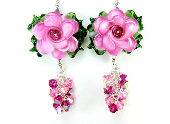 Hot Pink Glass Flower Earrings, Pink Floral Lampwork Bead Earrings, Glass Rose Earrings, Hot Pink Glass Earrings - Peonies