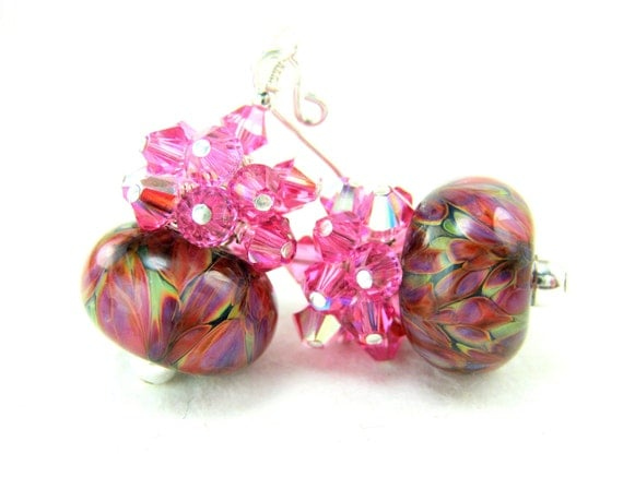 Pink Glass Bead Earrings, Hot Pink Green Purple Boro Lampwork Earrings, Colorful Earrings, Pink Crystal Cluster Earrings - Tropical Garden