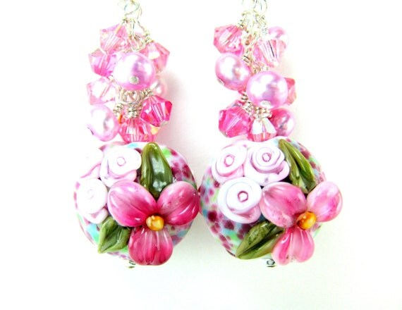 Pink Floral Earrings, Pearl Crystal Dangle Earrings, Nature Jewelry, Lampwork Earrings, Floral Jewelry, Flower Earrings - English Cottage