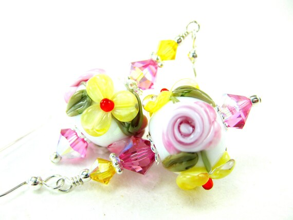 Pink Yellow Flower Earrings, Pink Yellow White Floral Lampwork Earrings, Pink Rose Glass Bead Earrings, Pink Earrings - Buttercups & Roses