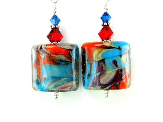 Turquoise Red Glass Bead Earrings, Turquoise Blue Red Lampwork Earrings, Abstract Earrings, Blue and Red Earrings - Santa Fe