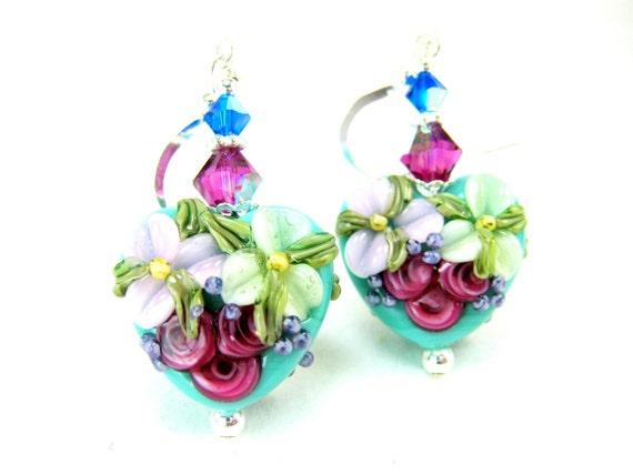Flower Heart Earrings, Turquoise Blue Pink Floral Heart Lampwork Earrings, Aqua Blue Glass Bead Earrings, Mother's Day Earrings - Delightful