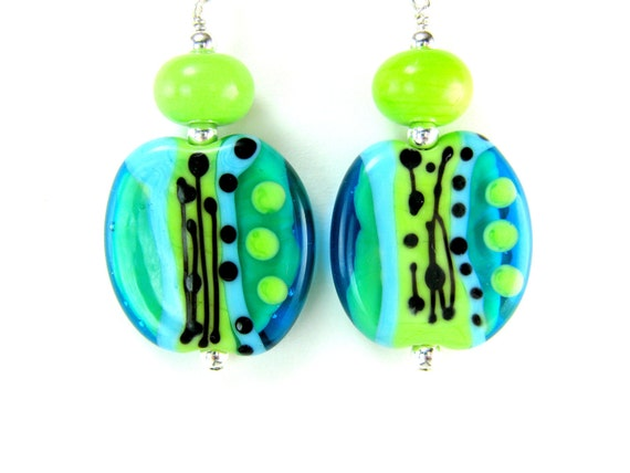 Turquoise Blue Green Glass Earrings, Abstract Earrings, Lime Green Aqua Blue Lampwork Earrings, Neon Earrings - Caribbean Vacation