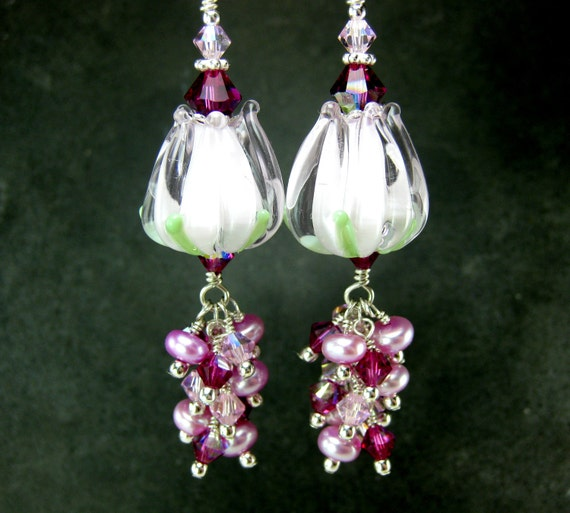 Pink Tulip Earrings, Flower Earrings, Spring Earrings, Pearl & Crystal Dangle Earrings, Floral Jewelry, Nature Jewelry, Lampwork Earrings