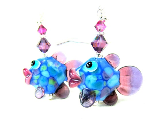 Fish Earrings, Blue Tropical Fish Earrings, Beadwork Earrings, Lampwork Bead Earrings, Glass Fish Earring -  Fanny & Flounder