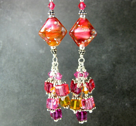 RESERVED Coral Crystal Earrings, Peach Glass Earrings, Lampwork Earrings, Long Dangle Earrings, Beadwork Earrings, Beaded Earrings - Bellini