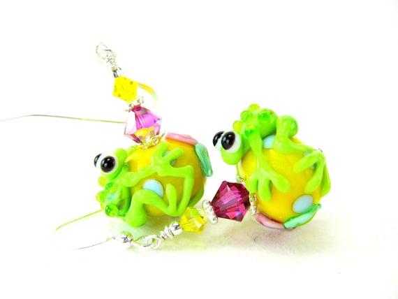 Frog Earrings, Lime Green Frog Lampwork Earrings, Green Yellow Pink Glass Earrings, Neon Earrings, Animal Earrings - Leap Frog