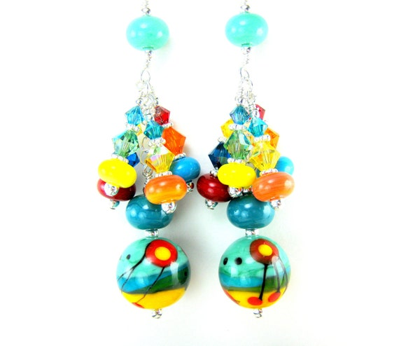 Colorful Long Dangle Earrings, Teal Yellow Red Lampwork Glass Earrings, Beadwork Earrings, Funky Earrings, Unique Earrings - Jabberwocky