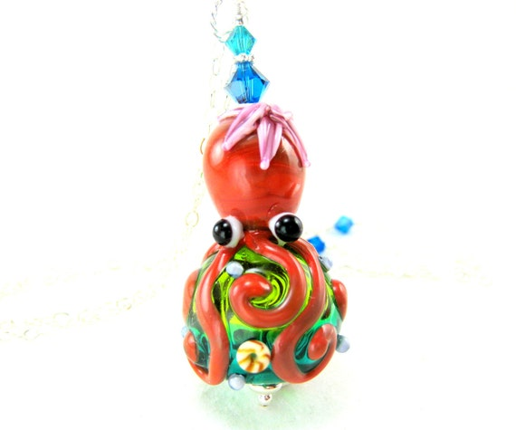 Octopus Necklace, Animal Necklace, Octopus Lampwork Necklace, Red Blue Green Glass Octopus Necklace, Ocean Necklace - Octavia Octopus