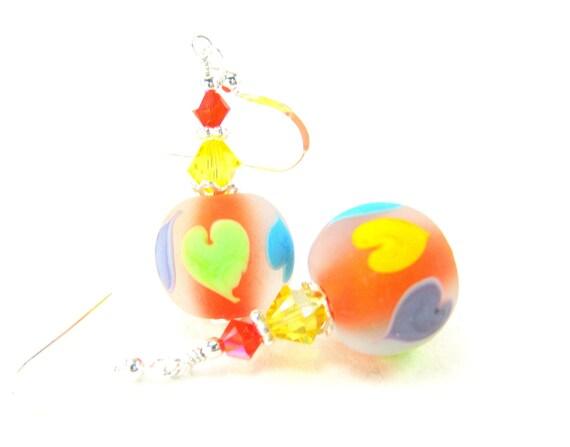 Colorful Heart Earrings, Neon Lampwork Glass Bead Earrings, Bright Color Beadwork Earring, Summer Dangle Earrings - Summer Hearts