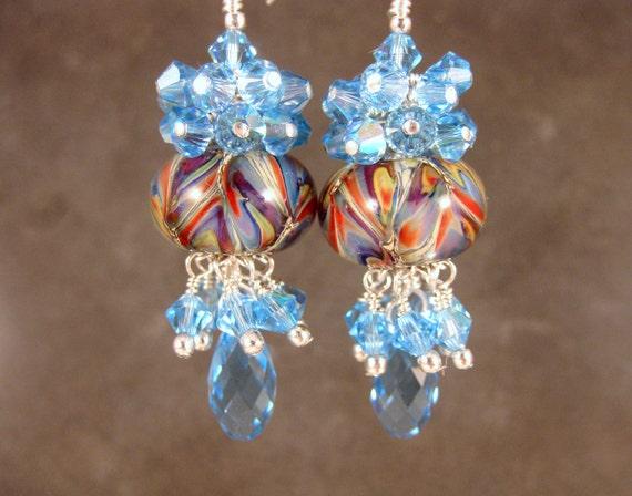 Colorful Boro Lampwork Earrings, Aqua Blue Glass Earrings, Colorful Glass Bead Earring, Chandelier Earrings, Boho Earrings - Cabana