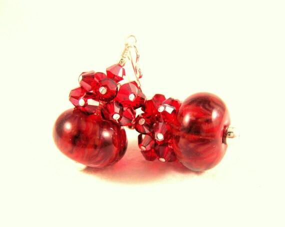 Red Boro Lampwork Earrings, Red Glass Earrings, Red and Black Earrings, Red Crystal Earrings, Cherry Red Earrings - Cherry Cola