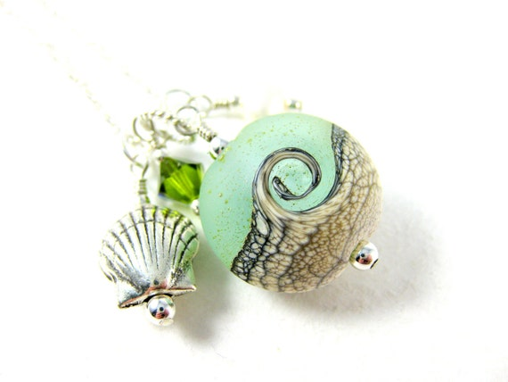Ocean Necklace, Beach Necklace, Green  White Wave Lampwork Necklace, Seashell Necklace, Charm Necklace, Beadwork Necklace - Sea Mist