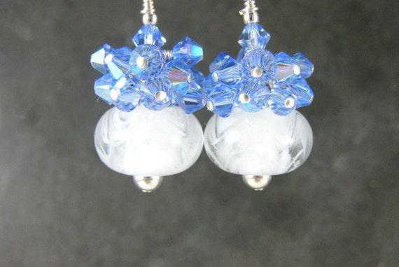 Light Blue & White Earrings, Blue Crystal Earrings, Boro Lampwork Earrings, Glass Earrings Ice Blue Earrings Beadwork Earrings  Arctic Chill