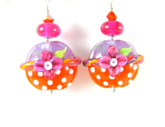 Hot Pink Orange Earrings, Colorful Glass Earrings, Lampwork Earrings, Polka Dot Earrings, Summer Earrings - Polka Dot Bikini