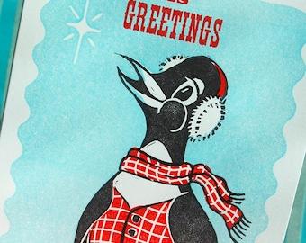 Christmas Card Penguin dreams Christmas linocut Greetings