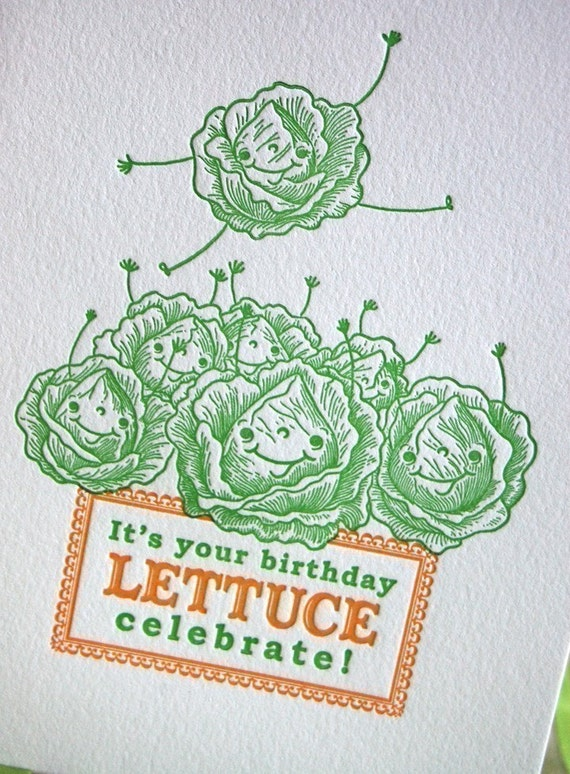 Lettuce Celebrate Letterpress Birthday Card