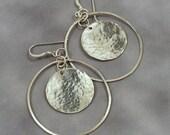 Haloed Disc, Hammerd Disc Earrings, Sterling Silver