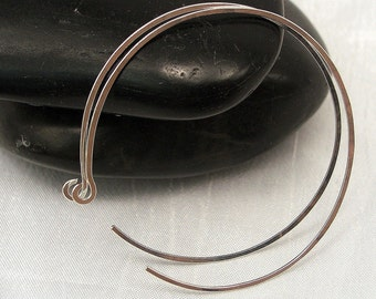 2.0 Inch Sterling Silver Hoop Earrings, Large Silver Hoop Earrings, Reverse Hoop Earrings