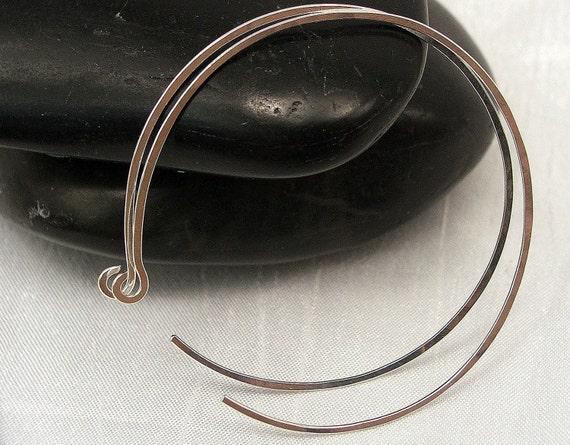 Hammered Sterling Silver Hoop Earrings, Large Silver Hoop Earrings, Reverse Hoop Earrings