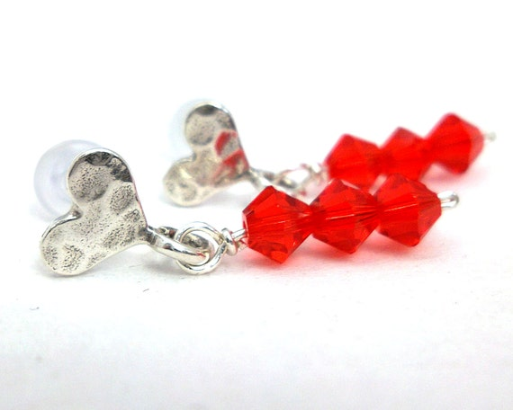 Sterling Silver Heart Earrings with Red Crystals - Post Style