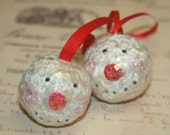 2 Handmade Vintage Inspired Adorable Paper Mache Snowman Ornaments