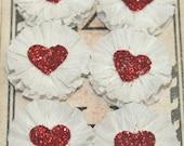6 Small White Crepe Paper Rosettes w/Glitter Heart Centers