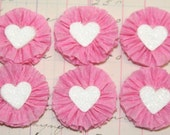 6 Small Dark Pink/White Heart Crepe Paper Rosettes
